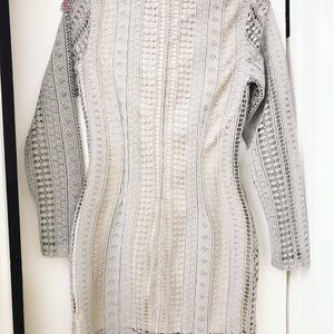 Gray crochet long sleeve mini dress
